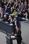 French President Francois Hollande speaks as members of the German and French governments look on during a joint session of the two governments at...