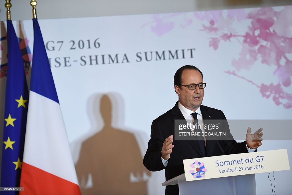 French President Francois Hollande speaks at a final press conference at the end of the second day of the G7 Summit in Shima in Mie prefecture on May 27, 2016. Pumping up the world economy is an 'urgent priority' G7 leaders said on May 27, but left the door open for a go-your-own-way approach in a sign of lingering divisions over how to boost growth. SAKUTIN