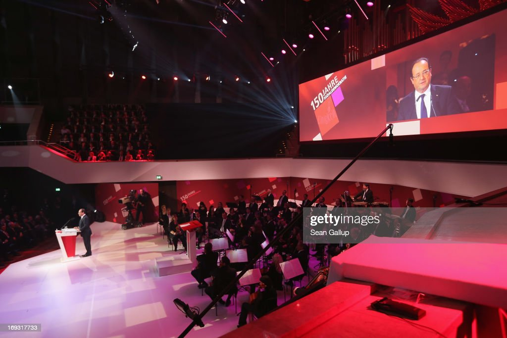 French President Francois Hollande speaks at the 150th anniversary celebration of the German Social Democrats (SPD) on May 23, 2013 in Leipzig, Germany. The SPD, Germany's main left-wing party, traces its history to the founding of the 'Allgemeine Deutsche Arbeiterverein' (General German Workers' Association) in Leipzig in May of 1863.