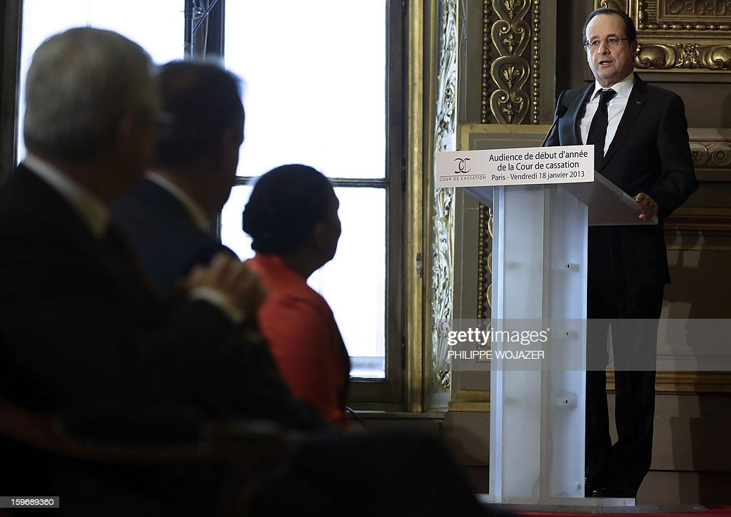 French President Francois Hollande speaks at the traditional New Year ceremony which reopens France's highest court (Cour de Cassation) in Paris, on January 18, 2013.