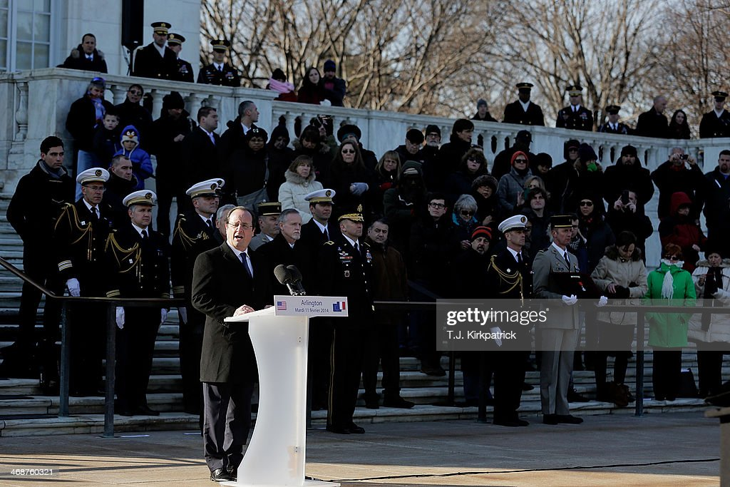 French President Francois Hollande speaks during a ceremony in which he laid a wreath at the Tomb of the Unknown Soldier and presented the Legion of Honor Medal to the World War II Unknown on February 11, 2014 in Arlington, Virginia. 2014 marks the 70th anniversary of the Allied Forces D-Day landing in Normandy, which helped lead to the liberation of France and the European continent.