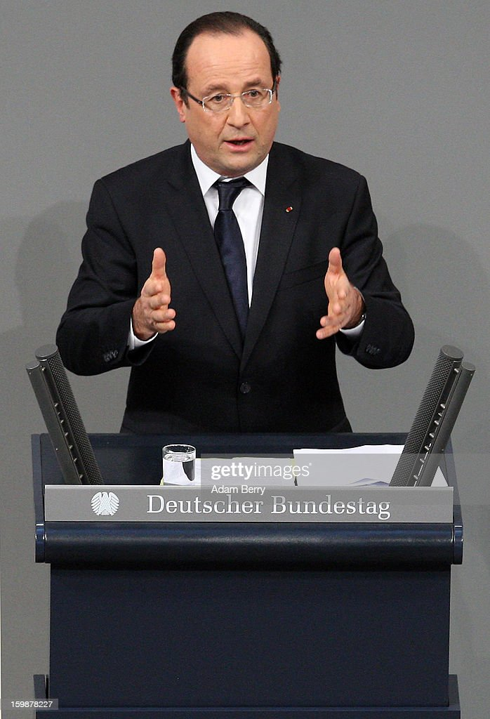 French President Francois Hollande speaks during a joint session of the German Bundestag and French Assemblee Nationale parliaments in the Reichstag building during the 50th anniversary celebration of the Elysee Treaty on January 22, 2013 in Berlin, Germany. The treaty, concluded in 1963 by Charles de Gaulle and Konrad Adenauer in the Elysee Palace in Paris, set a new tone of reconciliation between France and Germany, and called for consultations between the two countries to come to a common stance on policies affecting the most important partners in Europe as well as the rest of the region. Since its establishment, the document for improved bilateral relations has been seen by many as the driving force behind European integration.