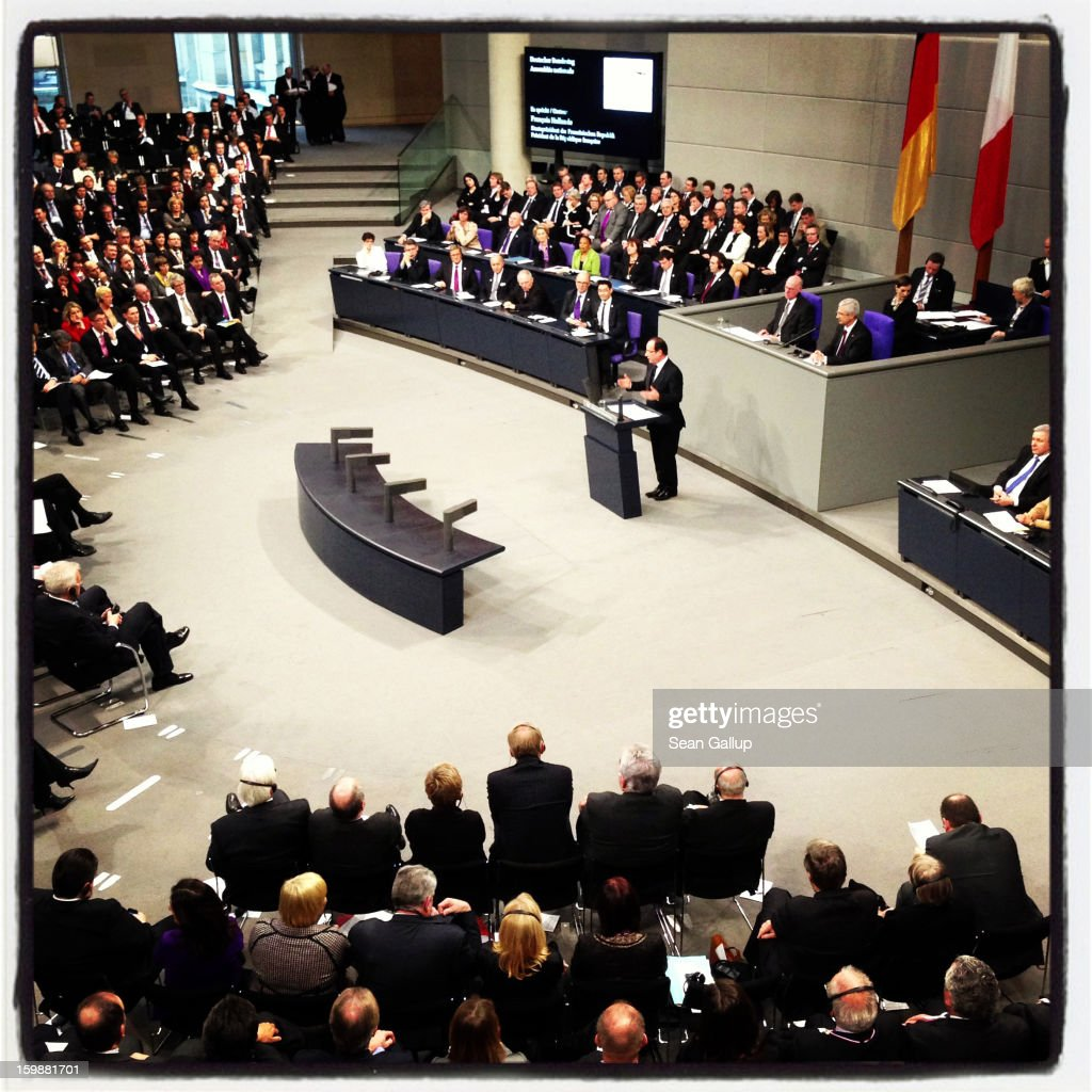 French President Francois Hollande speaks during a joint session of the two governments at the Bundestag during the 50th anniversary celebration of the Elysee Treaty on January 22, 2013 in Berlin, Germany. The treaty, concluded in 1963 by Charles de Gaulle and Konrad Adenauer in the Elysee Palace in Paris, set a new tone of reconciliation between France and Germany, and called for consultations between the two countries to come to a common stance on policies affecting the most important partners in Europe as well as the rest of the region. Since its establishment, the document for improved bilateral relations has been seen by many as the driving force behind European integration.