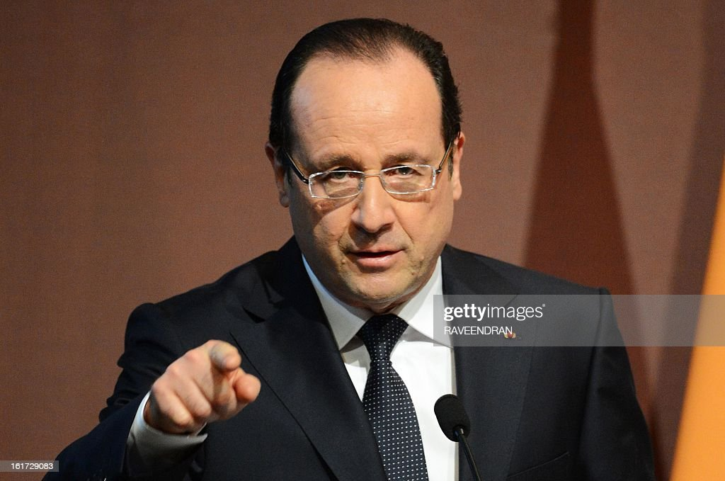 French President Francois Hollande speaks during a Madhavrao Scindia Foundation function in New Delhi on February 15, 2013. French President Francois Hollande in India for a two-day visit.