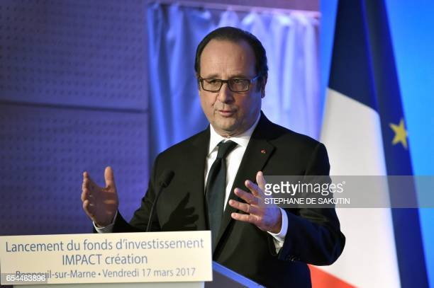 French president Francois Hollande speaks during the launching of the Impact Creation investment fund in in BonneuilsurMarne eastern Paris on March...