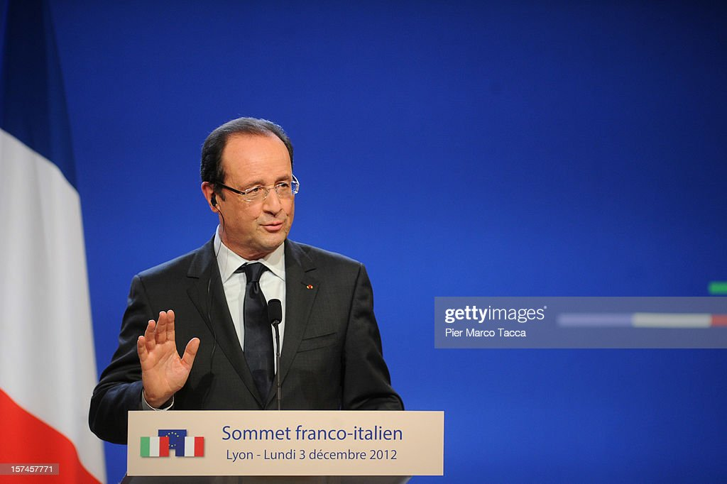 French President Francois Hollande speaks during the press conference at the French Italian Summit on December 3, 2012 in Lyon, France. The two countries are meeting to sign an official accord for the construction of new high speed (TAV) rail line running from Lyon to Torino.