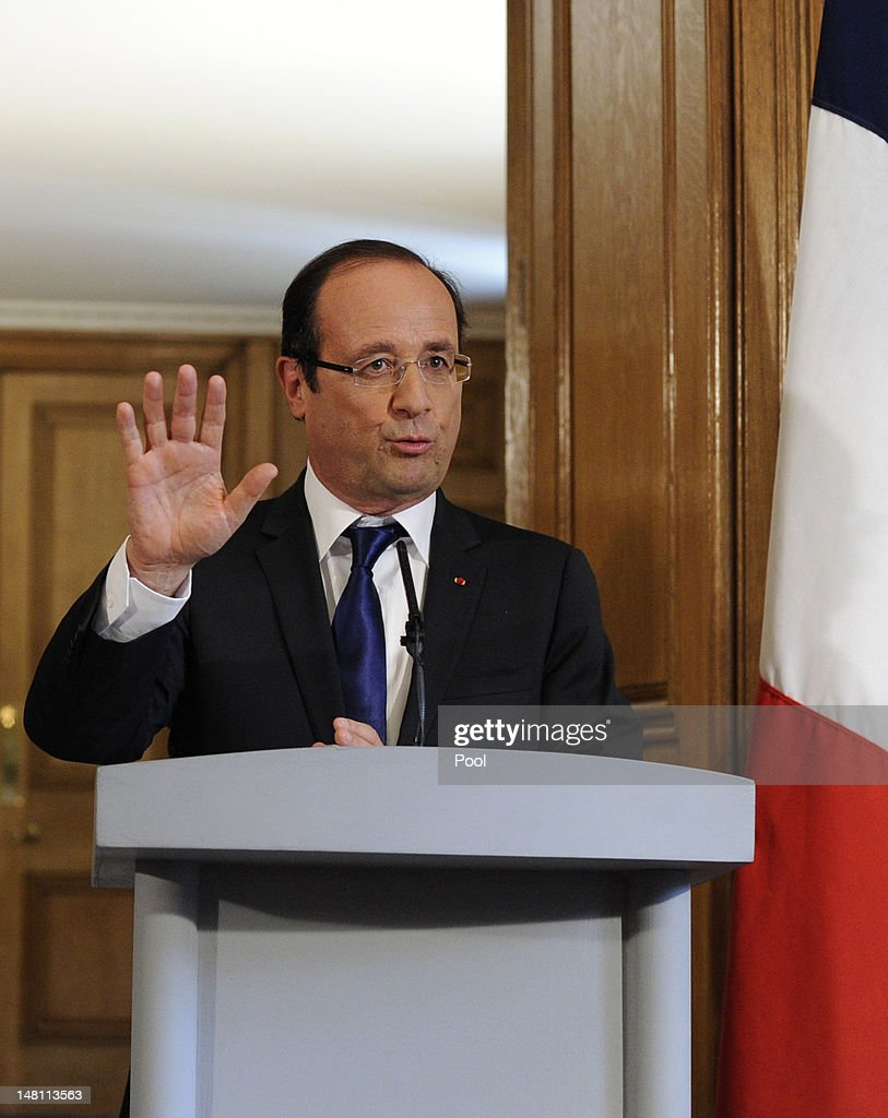 French President Francois Hollande speaks to press in Number 10 Downing Street on July 10, 2012 in London, England. This is the French President's first official visit to the United Kingdom since taking office, during which he will attend meetings with British Prime Minister David Cameron and Queen Elizabeth II.