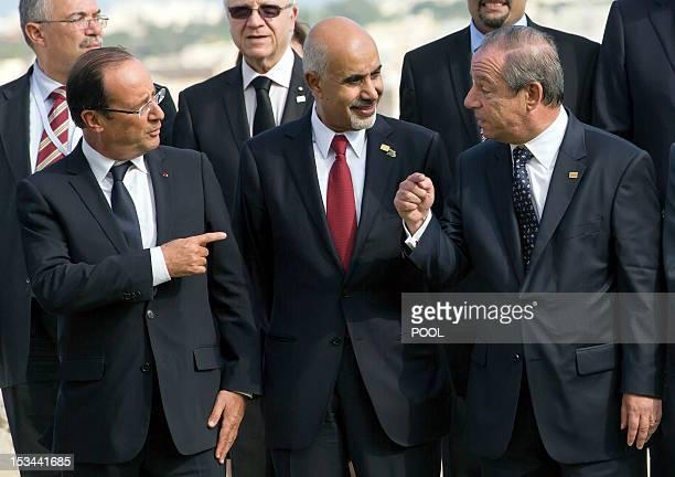 French President Francois Hollande speaks with Mohamed Yousef ElMagariaf President of the General National Congress of Libya and Maltese Prime...