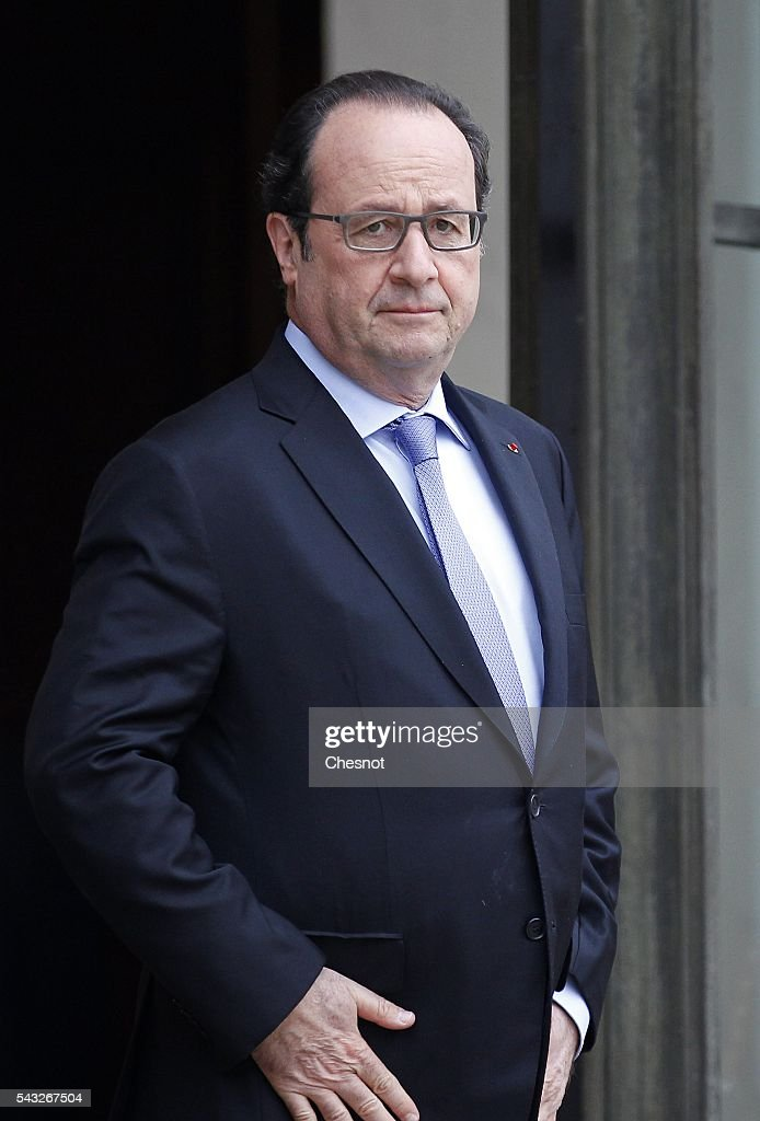 French President Francois Hollande stands prior to a meeting with deputy crown Prince and Defense Minister of Saudi Arabia Mohammed Bin Salman Al Saud at the Elysee Presidential Palace on June 27, 2016 in Paris, France.