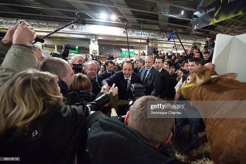 French President Francois Hollande visits the 50th International Agriculture Fair of Paris at the Porte de Versailles exhibition center on February 23, 2013 in Paris, France.