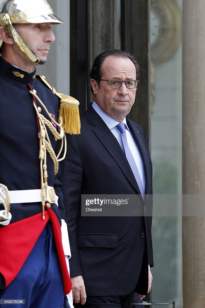 French President Francois Hollande waits prior to attend a meeting with President of the European Council Donald Tusk at the Elysee Presidential Palace on June 27, 2016 in Paris, France. Francois Hollande meets later Monday evening in Berlin, German Chancellor Angela Merkel, Donald Tusk and Italian Prime Minister Matteo Renzi to talk about European situation ahead of an EU-wide summit in Brussels.