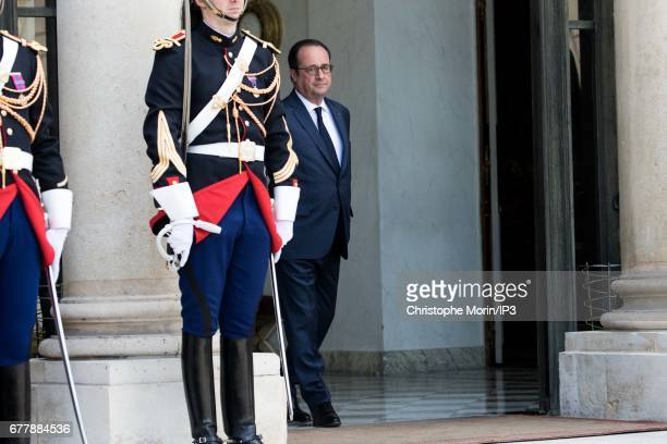 French President Francois Hollande waits the arrival of King Mohammed VI of Morocco for a meeting and a lunch in order to discuss issues related to...