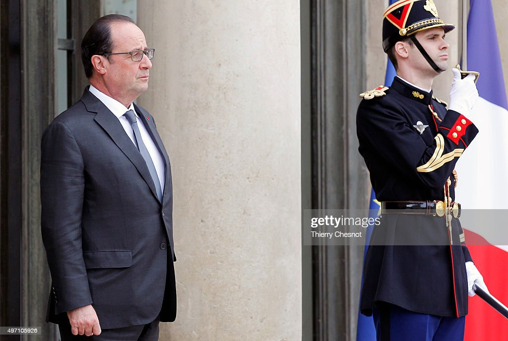 French President Francois Hollande waits to attend a meeting with Tunisian President Beji Caid El Sebsi on November 14 2015 in Paris France This...