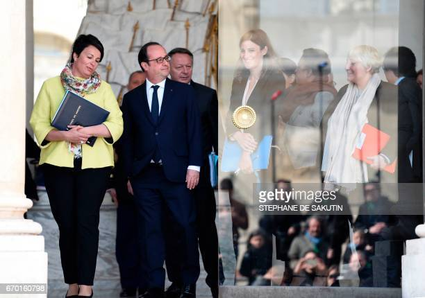 French President Francois Hollande walks next to French Junior Minister for Victims Aid Juliette Meadel French Junior Minister for Sports Thierry...
