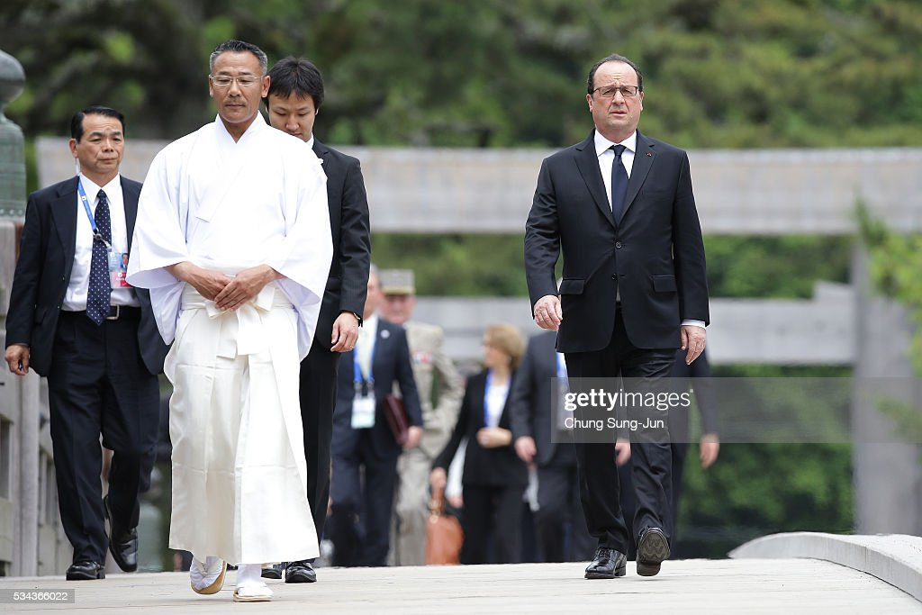 French President Francois Hollande walks on the Ujibashi bridge as he visits at the Ise-Jingu Shrine on May 26, 2016 in Ise, Japan. In the two-day summit, the G7 leaders are scheduled to discuss global issues including counter-terrorism, energy policy, and sustainable development.