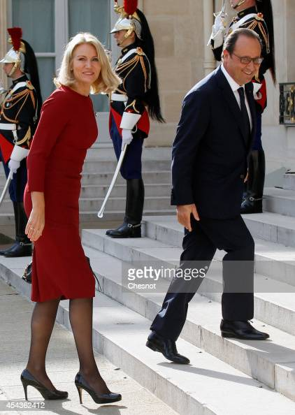 French president Francois Hollande welcomes Danish Prime Minister Helle ThorningSchmidt at the Elysee presidential palace on August 30 2014 in Paris...