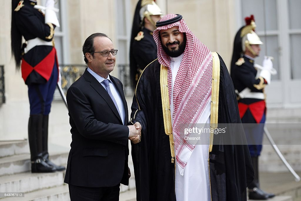 French President Francois Hollande welcomes deputy crown Prince and Defense Minister of Saudi Arabia Mohammed Bin Salman Al Saud prior to a meeting at the Elysee Presidential Palace on June 27, 2016 in Paris, France.