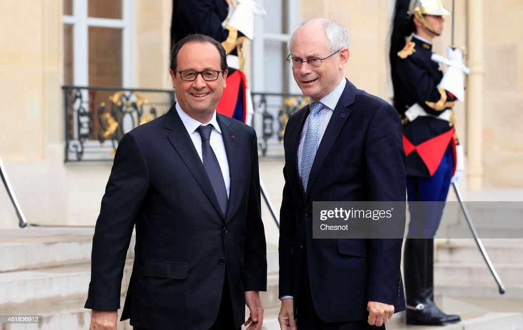 French President Francois Hollande (L) welcomes European Council President <a gi-track='captionPersonalityLinkClicked' href=/galleries/search?phrase=Herman+Van+Rompuy&family=editorial&specificpeople=4476281 ng-click='$event.stopPropagation()'>Herman Van Rompuy</a> prior a meeting at the Elysee Palace on July 8, 2014 in Paris, France. Van Rumpuy meets Francois Hollande in preparation for the upcoming EU summit on July 16 in Brussels.