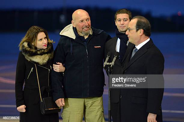 French President Francois Hollande Welcomes former hostage Serge Lazarevic with daughter Diane and Clement Verdon son of French executed hostage...