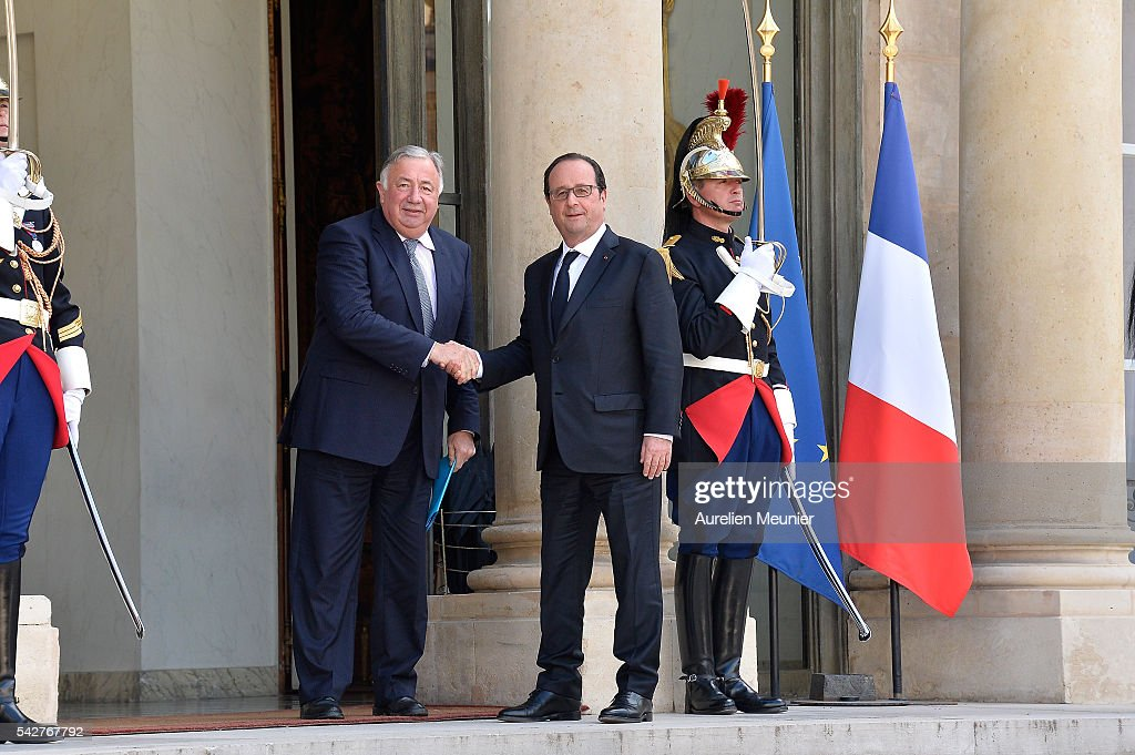 French President Francois Hollande welcomes French Senate President Gerard Larcher for a meeting following the results of the UK EU Referendum vote at the Elysee Presidential palace on June 24, 2016 in Paris, France. The United Kingdom has voted to leave the EU in a European Union (EU) referendum. British Prime Minister David Cameron announced his resignation now that the majority of British voters decided to leave the European Union.