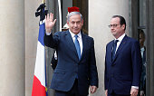 French President Francois Hollande welcomes Israeli Prime Minister Benjamin Netanyahu at the Elysee Palace before attending a Unity rally in tribute...