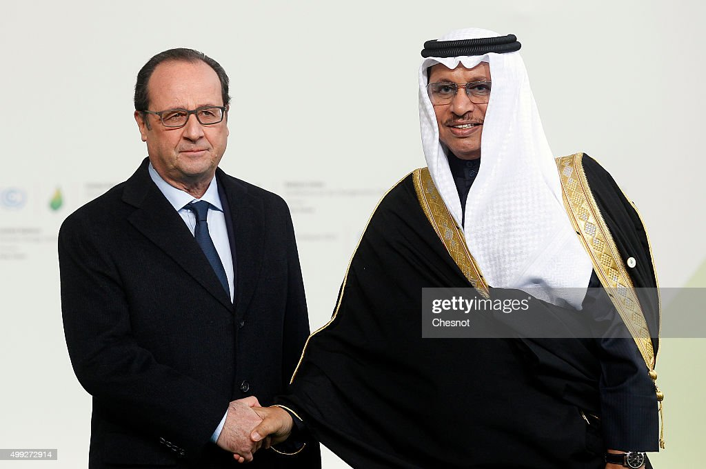 French President Francois Hollande welcomes Kuwaiti Prime Minister Sheikh Jaber al-Mubarak al-Sabah (R) as he arrives for the COP21 United Nations Climate Change Conference on November 30, 2015 in Le Bourget, France. More than 150 world leaders are meeting for the 21st Session of the Conference of the Parties to the United Nations Framework Convention on Climate Change (COP21/CMP11), from November 30 to December 11, 2015.