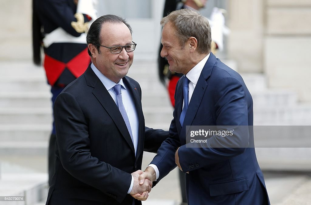 French President Francois Hollande welcomes President of the European Council <a gi-track='captionPersonalityLinkClicked' href=/galleries/search?phrase=Donald+Tusk&family=editorial&specificpeople=870281 ng-click='$event.stopPropagation()'>Donald Tusk</a> prior to attend a meeting at the Elysee Presidential Palace on June 27, 2016 in Paris, France. Francois Hollande meets later Monday evening in Berlin, German Chancellor Angela Merkel, <a gi-track='captionPersonalityLinkClicked' href=/galleries/search?phrase=Donald+Tusk&family=editorial&specificpeople=870281 ng-click='$event.stopPropagation()'>Donald Tusk</a> and Italian Prime Minister Matteo Renzi to talk about European situation ahead of an EU-wide summit in Brussels.