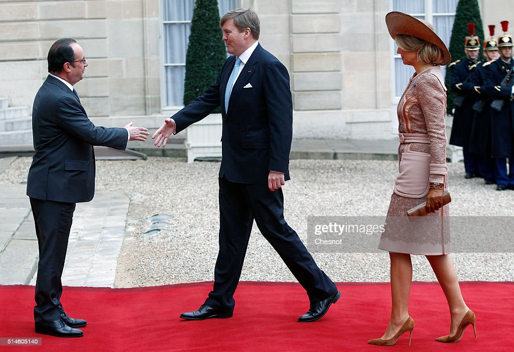French President Francois Hollande welcomes Queen Maxima of the Netherlands and King Willem-Alexander of the Netherlands prior to attend a meeting at the Elysee Presidential Palace on March 10, 2016 in Paris, France. Queen Maxima and King Willem-Alexander are on a two-day state visit in France.