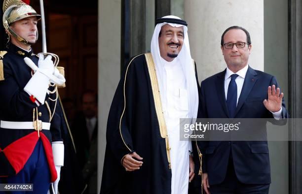 French President Francois Hollande welcomes Saudi Crown Prince Salman Bin Abdulaziz AlSaud prior their meeting at the Elysee Presidential Palace on...
