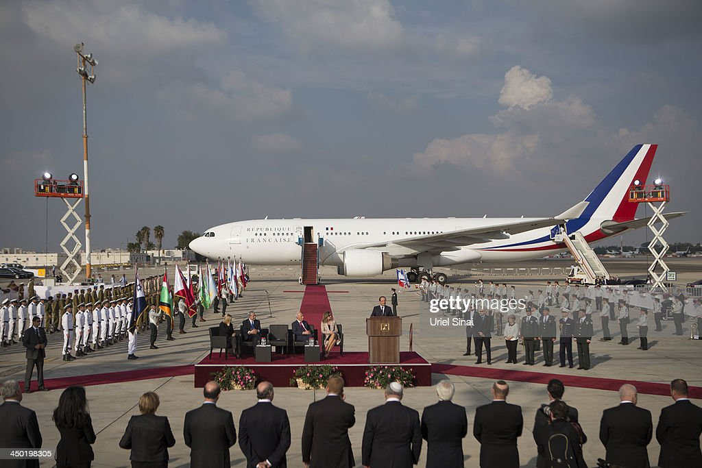 French President Francois Hollandespeaks on his arrival at Ben Gurion International Airport on November 17, 2013 in Tel Aviv, Israel. Hollande landed at Israel's Ben Gurion airport for a three-day visit in Israel and the West Bank.