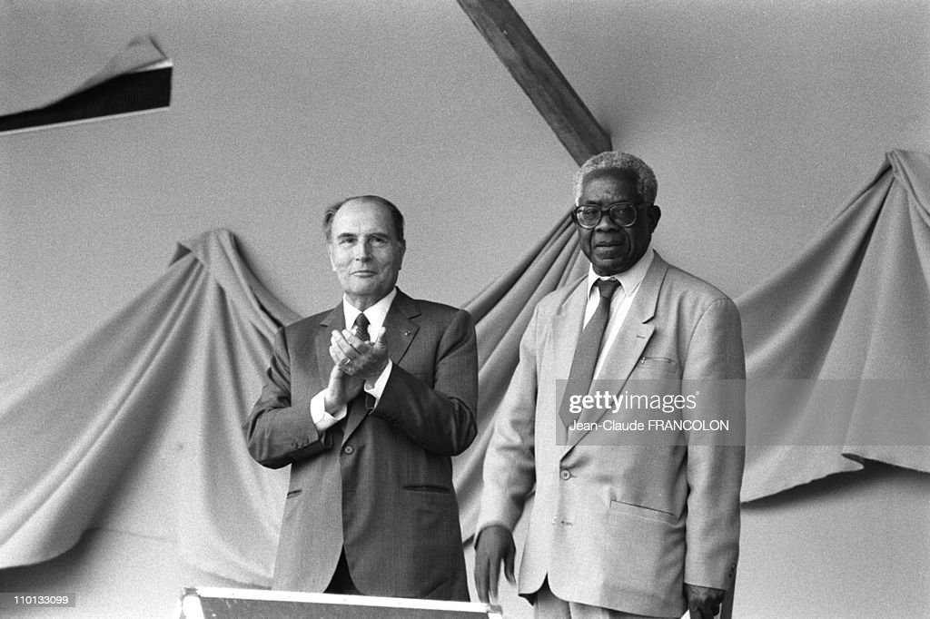 French President <a gi-track='captionPersonalityLinkClicked' href=/galleries/search?phrase=Francois+Mitterrand&family=editorial&specificpeople=208938 ng-click='$event.stopPropagation()'>Francois Mitterrand</a> and <a gi-track='captionPersonalityLinkClicked' href=/galleries/search?phrase=Aime+Cesaire&family=editorial&specificpeople=2045412 ng-click='$event.stopPropagation()'>Aime Cesaire</a>, mayor of Fort de France in Martinique, West Indies on April 27, 1988.