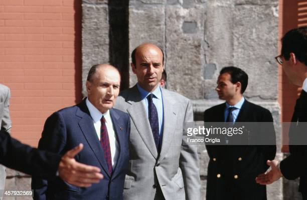 French President Francois Mitterrand and French Foreign Minister Alain Juppe during the G7 Summit at the Royal Palace of Naples Piazza del Plebiscito...