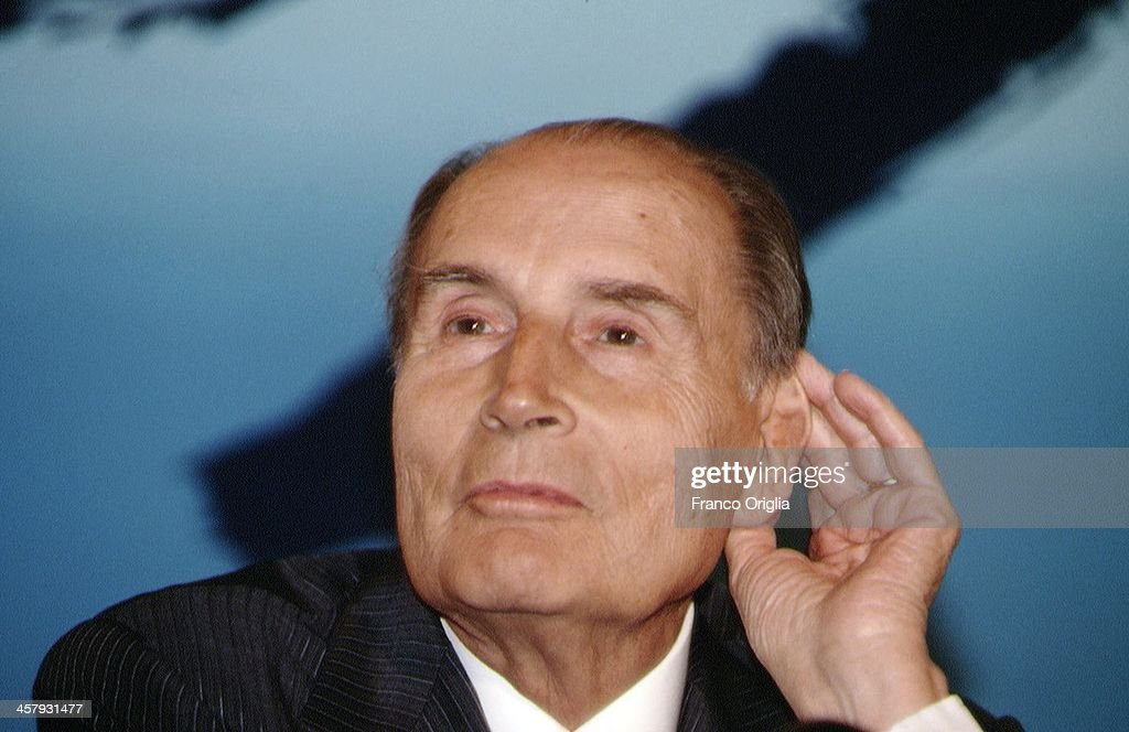 French President <a gi-track='captionPersonalityLinkClicked' href=/galleries/search?phrase=Francois+Mitterrand&family=editorial&specificpeople=208938 ng-click='$event.stopPropagation()'>Francois Mitterrand</a> attends a conference during the G7 Summit at the Royal Palace of Naples, Piazza del Plebiscito, on July 10, 1994 in Naples, Italy.
