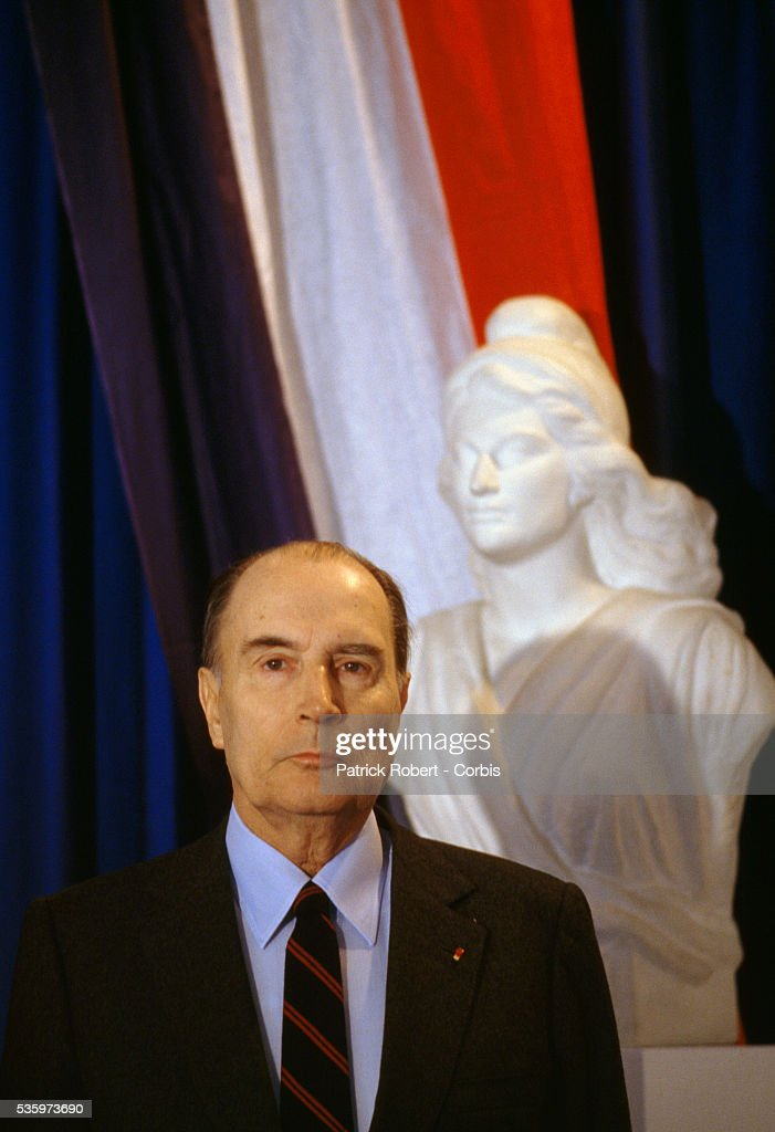 French president Francois Mitterrand attends an event while in the Franche-Comte region.