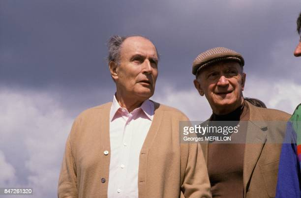 French President Francois Mitterrand during the Roche de Solutre ascent with brother in law Roger Gouze on May 14 1989 in Solutre France