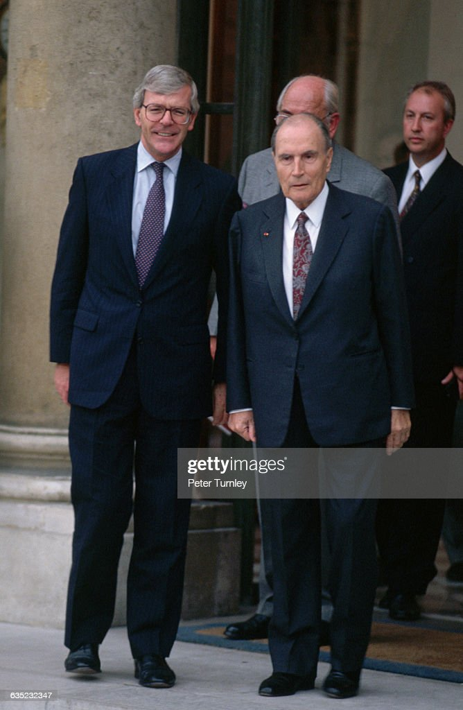 French President <a gi-track='captionPersonalityLinkClicked' href=/galleries/search?phrase=Francois+Mitterrand&family=editorial&specificpeople=208938 ng-click='$event.stopPropagation()'>Francois Mitterrand</a> meets with British Prime Minister Major at the Elysee Palace.