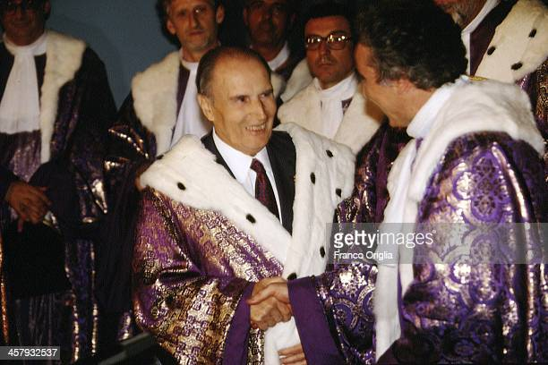 French President Francois Mitterrand receives an Horonis Causa degree in philosophy by the Universitˆ degli Studi di Napoli 'L'Orientale' during the...