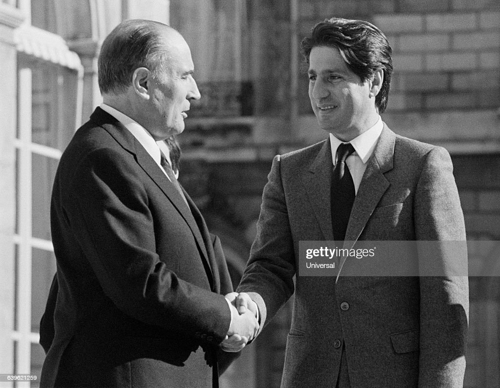 French President <a gi-track='captionPersonalityLinkClicked' href=/galleries/search?phrase=Francois+Mitterrand&family=editorial&specificpeople=208938 ng-click='$event.stopPropagation()'>Francois Mitterrand</a> welcomes Lebanese President Amine Gemayel at the Elysee Palace.