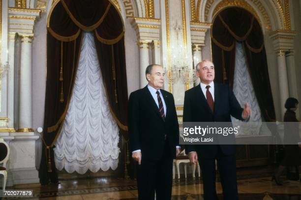 French President Francois Mitterrand's visit to the Soviet Union Pictured Francois Mitterrand and Mikhail Gorbachev Moscow Russia 5th December 1989