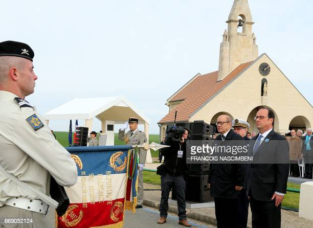 French President François Hollande and French Defence Minister JeanYves Le Drian on April 16 2017 in CernyenLaonnois north eastern France during a...
