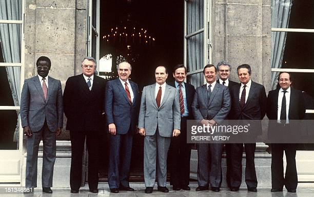 French President François Mitterrand invited for lunch socialist government heads on May 19 1983 at Elysee Palace who met for two days in Paris From...