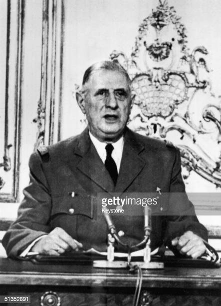 French President General Charles de Gaulle makes a nationwide television broadcast 23rd April 1961 Wearing his wartime brigadier's uniform he...
