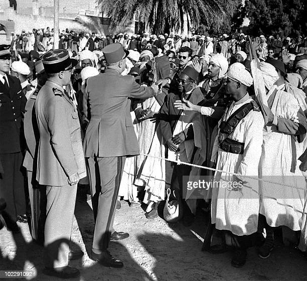 French President General De Gaulle is welcomed by the population of Touggourt Algeria 08 December 1958 On 23 October in a press conference General de...