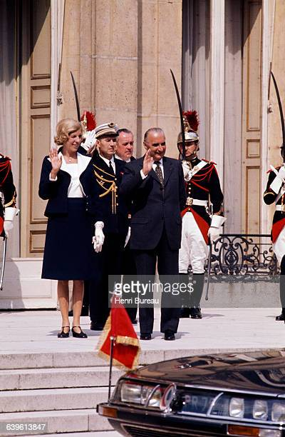 French President Georges Pompidou and his wife Claude on the steps of the Elysee Palace
