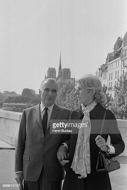 French President Georges Pompidou and his wife Claude strolling along the banks of the River Seine
