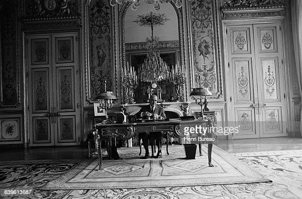 French President Georges Pompidou in his office at the Elysee Palace