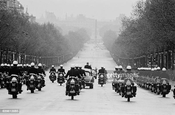 French President Georges Pompidou returns to the Elysee Palace by way of the ChampsElysees after a ceremony at the Place de l'Etoile