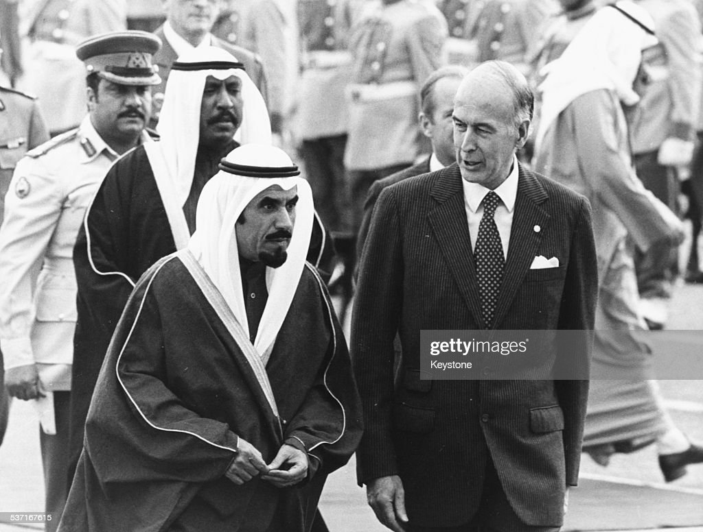 French President Giscard D'Estaing and Emir of Kuwait Jaber Al Ahmad Al Sabah Kuwait circa 1980