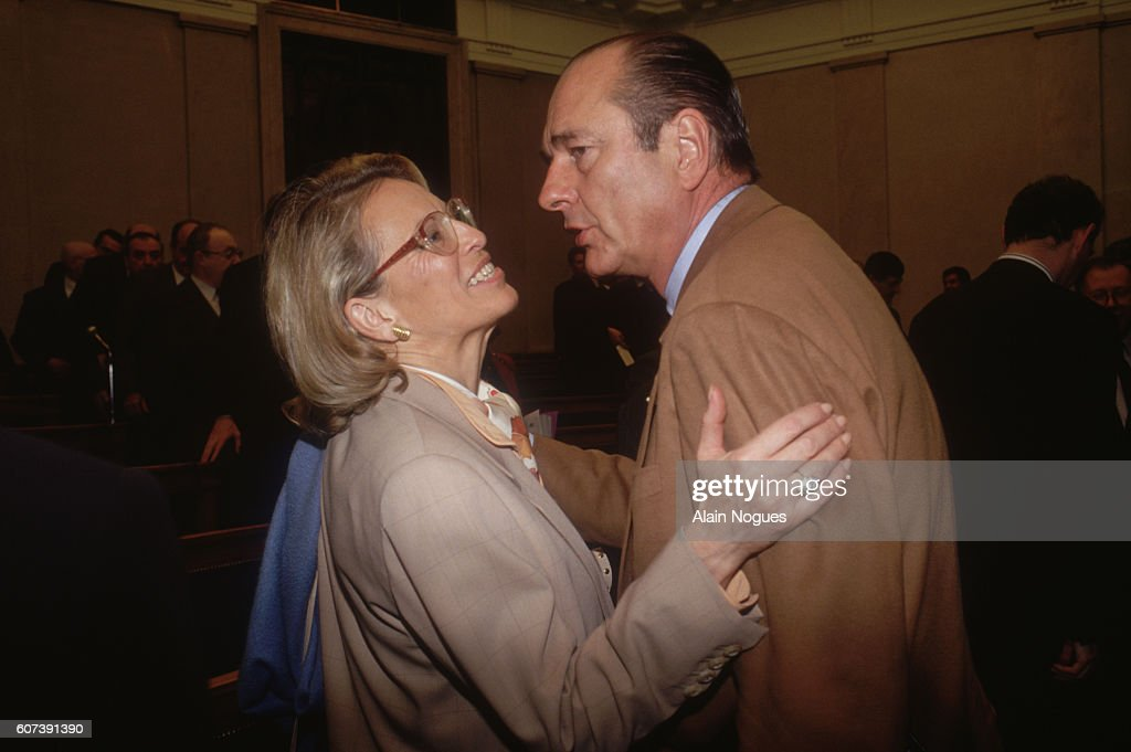 French President Jacques Chirac and Minister of Defense Michele Alliot-Marie greet each other during the election of the president of the RPR Group.
