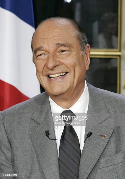 French President Jacques Chirac answers to journalists on the theme of the EU constitution at the Elysee palace In Paris France On May 03 2005 French...